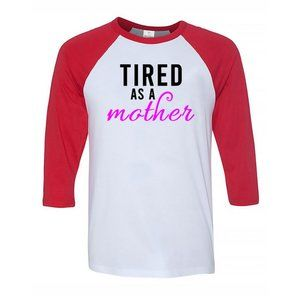 Youth Kids TIRED AS A MOTHER Baseball Tee